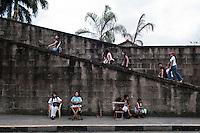 Philippines, Manila, 5 march, 2008..Old city walls in Intramuros the oldest district of the city of Manila...Oude stadsmuren in Intramuros, het oudste district van Manila, de hoofdstad van de Filippijnen...Photo Kees Metselaar