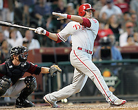 Phillies OF Gregg Dobbs triples on Sunday May 25th at Minute Maid Park in Houston, Texas. Photo by Andrew Woolley / Four Seam Images.