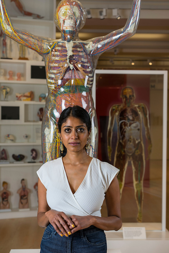 """Aarathi Prasad photographed at the Wellcome Collection in Central London. Prasad is a bioligist and writer.  She is currenty promoting her second book, In the Bonesetter's Waiting Room. Travels through Indian Medicine"""" . Prasad is also a tv presenter. Prasad is based at Universit College London."""