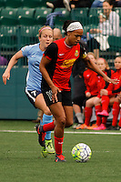 Rochester, NY - Saturday May 21, 2016: Western New York Flash forward Jessica McDonald (14) and Sky Blue FC midfielder Nikki Stanton (7). The Western New York Flash defeated Sky Blue FC 5-2 during a regular season National Women's Soccer League (NWSL) match at Sahlen's Stadium.