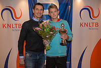 Hilversum, Netherlands, December 4, 2016, Winter Youth Circuit Masters, 2 nd place boys 16 years Niels Visker with Fedcup captain Paul Haarhuis. <br /> Photo: Tennisimages/Henk Koster