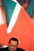 """L'ex Presidente del Consiglio Silvio Berlusconi tiene una conferenza stampa nella sede di Forza Italia per illustrare le nuove """"carte americane"""" che lo scagionerebbero nel processo sui diritti tv Mediaset, a Roma, 25 novembre 2013.<br /> Italian former Premier Silvio Berlusconi attends a press conference claiming new documentation that would prove he is didn't commit a tax fraud, at Forza Italia party's headquarters, Rome, 25 November 2013. Berlusconi's conviction in the Mediaset trial for tax fraud has been upheld by Italy's highest Cassation court on last August.<br /> UPDATE IMAGES PRESS/Riccardo De Luca"""