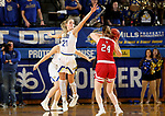 BROOKINGS, SD - FEBRUARY 22: Tylee Irwin #21 of the South Dakota State Jackrabbits looks to block the shot attempt of Ciara Duffy #24 of the South Dakota Coyotes Saturday at Frost Arena in Brookings, SD. (Photo by Dave Eggen/Inertia)