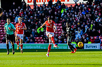 Barnsley's midfielder Adam Hammill (7) strike towards goal during the Sky Bet Championship match between Barnsley and Leeds United at Oakwell, Barnsley, England on 25 November 2017. Photo by Stephen Buckley / PRiME Media Images.