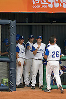 19 August 2007: DH #26 Jamel Boutagra is congratulated by his teammates during the Japan 4-3 victory over France in the Good Luck Beijing International baseball tournament (olympic test event) at the Wukesong Baseball Field in Beijing, China.