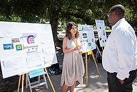Michelle Levitt, Center Theatre Group<br /> 2018 InternLA student participants share their poster presentations about their summer experiences working as interns in Los Angeles. Summer Experience Expo, Sept. 13, 2018 in the Academic Quad. Hosted by Career Services.<br /> (Photo by Marc Campos, Occidental College Photographer)