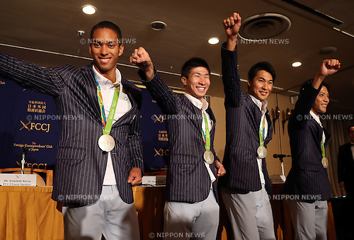 August 29, 2016, Tokyo, Japan - Japanese 4 x 100m relay team members (L-R) Aska Cambridge, Yoshihide Kiryu, Shota Iizuka and Ryota Yamagata display their samurai pose prior to their press conference in Tokyo on Monday, August 29, 2016. Japanese relay team won the first silver medal at the Rio de Janeiro Olympic Games.    (Photo by Yoshio Tsunoda/AFLO) LWX -ytd-