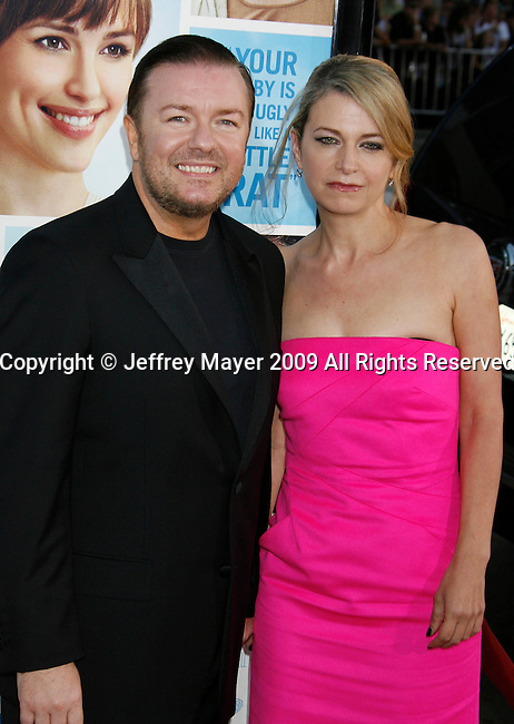 "HOLLYWOOD, CA. - September 21: Ricky Gervais and Jane Fallon arrive at the Los Angeles premiere of ""The Invention of Lying"" at the Grauman's Chinese Theatr on September 21, 2009 in Hollywood, California."