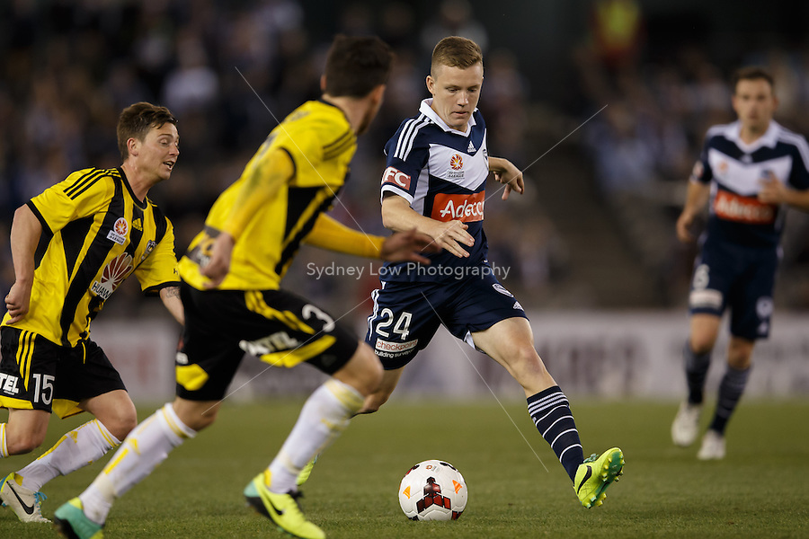 Scott GALLOWAY of the Victory controls the ball in the round four match between Melbourne Victory and Wellington Phoenix in the Australian Hyundai A-League 2013-24 season at Etihad Stadium, Melbourne, Australia.<br /> This image is not for sale. Please visit zumapress.com for image licensing.