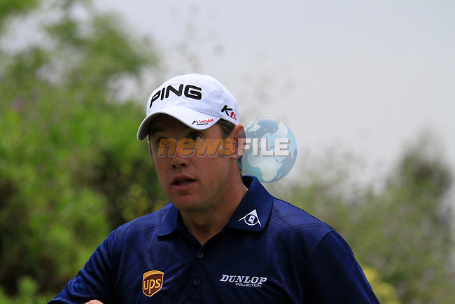 Lee Westwood (ENG) before teeing off on the 1st tee during Day 1 of the Volvo World Match Play Championship in Finca Cortesin, Casares, Spain, 19th May 2011. (Photo Eoin Clarke/Golffile 2011)