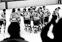 Seals celebrate win over the Canadiens, Paul Andrea, Ron Stackhouse, Gary Smith, Dick Mattiussi, Earl Ingarfield, Gary Croteau, Tony Featherstone, Carol Vadnais, and Bill Hicke.1970 photo/Ron Riesterer
