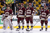 Andrew Margolin (BC - 30), Andrew Orpik (BC - 27), Nick Petrecki (BC - 26), Matt Price (BC - 25) - The Boston College Eagles defeated the University of Vermont Catamounts 4-0 in the Hockey East championship game on Saturday, March 22, 2008, at TD BankNorth Garden in Boston, Massachusetts.