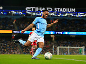 9th January 2018, Etihad Stadium, Manchester, England; Carabao Cup football, semi-final, 1st leg, Manchester City versus Bristol City; Raheem Sterling of Manchester City crosses the ball into the Bristol area