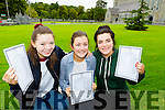 Kerry Mahony, Megan Cronin and Aileen O'Leary Killarney Presentation girls  celebrate after receiving their Leaving Cert results on Wednesday morning