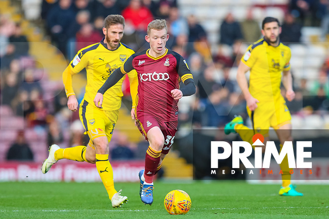 Lewis O'Brien of Bradford City breaks away during the Sky Bet League 1 match between Bradford City and Oxford United at the Northern Commercial Stadium, Bradford, England on 24 November 2018. Photo by Thomas Gadd.