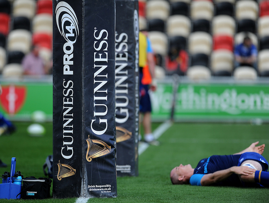 Leinster's Devin Toner during the pre match warm up infront of the new Guinness pro 14 branding <br /> <br /> Photographer Ashley Crowden/CameraSport<br /> <br /> Guinness Pro14 Round 1 - Dragons v Leinster Rugby - Saturday 2nd September 2017 - Rodney Parade - Newport, Wales<br /> <br /> World Copyright &copy; 2017 CameraSport. All rights reserved. 43 Linden Ave. Countesthorpe. Leicester. England. LE8 5PG - Tel: +44 (0) 116 277 4147 - admin@camerasport.com - www.camerasport.com