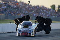 May 18, 2012; Topeka, KS, USA: NHRA top alcohol funny car driver Frank Manzo during qualifying for the Summer Nationals at Heartland Park Topeka. Mandatory Credit: Mark J. Rebilas-