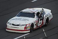 Apr. 24, 2009; Talladega, AL, USA; ARCA RE/MAX Series driver Justin Lofton celebrates after winning the RE/MAX 250 at the Talladega Superspeedway. Mandatory Credit: Mark J. Rebilas-