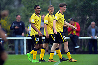 Wellington Phoenix's Ben Waine (centre) after scoring his second goal during the ISPS Handa Premiership football match between Team Wellington and Wellington Phoenix Reserves at David Farrington Park in Wellington, New Zealand on Sunday, 17 November 2019. Photo: Dave Lintott / lintottphoto.co.nz