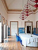 PORTUGAL, Lisbon, the Dining room in Palacio Belmonte, decorated with Azulejo Tiles