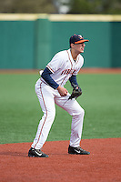 Virginia Cavaliers shortstop Daniel Pinero (22) on defense against the Hartford Hawks at The Ripken Experience on February 27, 2015 in Myrtle Beach, South Carolina.  The Cavaliers defeated the Hawks 5-1.  (Brian Westerholt/Four Seam Images)