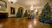 """The 2018 White House Christmas decorations, with the theme """"American Treasures"""" which were personally selected by first lady Melania Trump, are previewed for the press in Washington, DC on Monday, November 26, 2018. This is a wide view of the East Room.  <br /> Credit: Ron Sachs / CNP"""