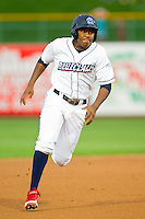 Maikel Franco (18) of the Lakewood BlueClaws hustles towards third base against the Kannapolis Intimidators at FirstEnergy Park on August 8, 2012 in Lakewood, New Jersey.  The BlueClaws defeated the Intimidators 5-0.  (Brian Westerholt/Four Seam Images)