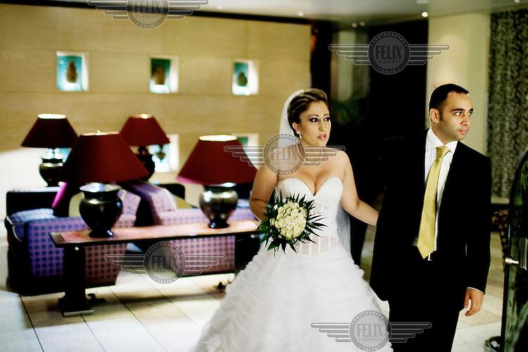 Abeer and Houssam Khattab celebrate their marraige in the prestigious Crowne Plaza in Hamra.