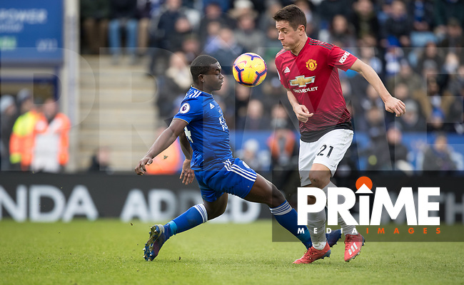 Nampalys Mendy of Leicester City and Ander Herrera of Man Utd  during the Premier League match between Leicester City and Manchester United at the King Power Stadium, Leicester, England on 3 February 2019. Photo by Andy Rowland.