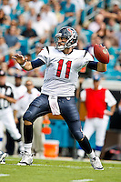 November 27, 2011:  Houston Texans quarterback Matt Leinart (11) drops back to pass during first half action between the Jacksonville Jaguars and the Houston Texans played at EverBank Field in Jacksonville, Florida.  ........