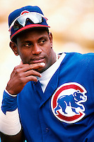 Sammy Sosa of the Chicago Cubs participates in a Major League Baseball game at Dodger Stadium during the 1998 season in Los Angeles, California. (Larry Goren/Four Seam Images)