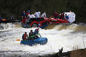 26/12/15<br /> <br /> Two minis, one towing a caravan and a tractor are just some of dozens of competitors who are tossed into the Derwent as the extremely swollen river launches rafts, uncontrollably, down a weir along the route of the Boxing Day Race at Matlock Bath in Derbyshire.<br /> <br /> <br /> All Rights Reserved: F Stop Press Ltd. +44(0)1335 418365   www.fstoppress.com.
