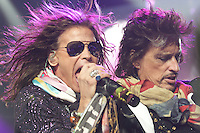American rock band Aerosmith, fronted by singer Steven Tyler and guitarist Joe Perry, right, performs live, Sept. 16, 2010 at Rogers Place in Vancouver. (Scott Alexander/pressphotointl.com)