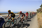 The peloton in full flight after the start of Stage 4 of the La Vuelta 2018, running 162km from Velez-Malaga to Alfacar, Sierra de la Alfaguara, Andalucia, Spain. 28th August 2018.<br /> Picture: Eoin Clarke   Cyclefile<br /> <br /> <br /> All photos usage must carry mandatory copyright credit (&copy; Cyclefile   Eoin Clarke)