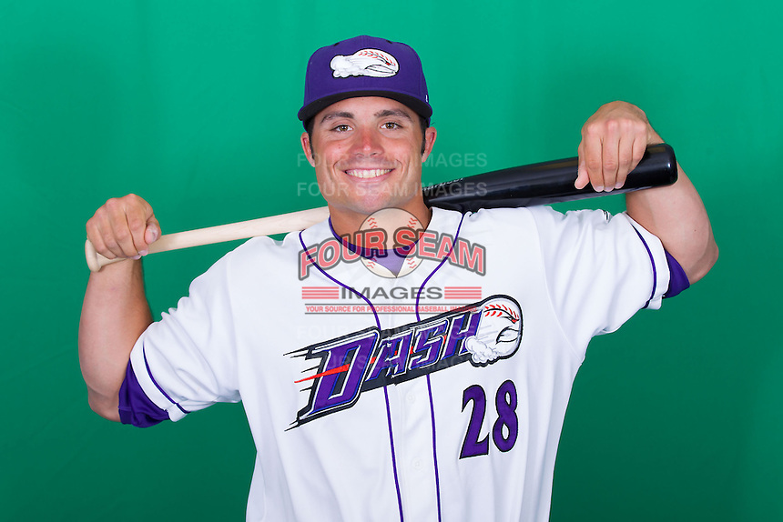 Winston-Salem Dash infielder/outfielder Grant Buckner (28) poses for photos during Media Day at BB&T Ballpark on April 1, 2014 in Winston-Salem, North Carolina (Brian Westerholt/Four Seam Images)