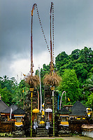 Bali, Gianyar, Tirtha Empul. Pura Tirtha Empul temple close to Tampaksiring. The decorations from a recently held ceremony is still in place.