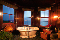 The Tub in the bay windows of the tower in the main suite at the Castle Hill Inn, Newport RI