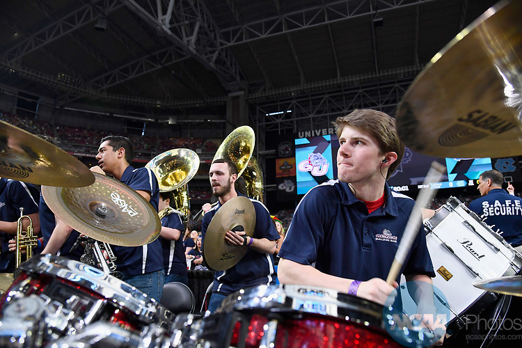 GLENDALE, AZ - APRIL 03: The Gonzaga Bulldogs band plays prior to tip-off during the 2017 NCAA Men's Final Four National Championship game at University of Phoenix Stadium on April 3, 2017 in Glendale, Arizona.  (Photo by Brett Wilhelm/NCAA Photos via Getty Images)