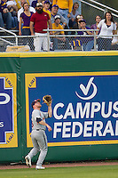 Auburn Tigers outfielder Cullen Wacker #3 tracks a fly ball to the warning track against the LSU Tigers in the NCAA baseball game on March 22nd, 2013 at Alex Box Stadium in Baton Rouge, Louisiana. LSU defeated Auburn 9-4. (Andrew Woolley/Four Seam Images).