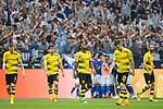 15.04.2018, VELTINS Arena, Gelsenkirchen, Deutschland, GER, 1. FBL, FC Schalke 04 vs. Borussia Dortmund, im Bild Marco Reus (#11 Dortmund), Sokratis Papastathopoulos (#25 Dortmund), Michy Batshuayi (#44 Dortmund), Christian Pulisic (#22 Dortmund), Oemer Toprak (#36 Dortmund) entt&auml;uscht / enttaeuscht / traurig nach 2-0 Schalke<br /> <br /> Foto &copy; nordphoto / Kurth