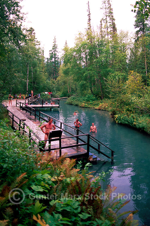 People soaking in Liard Hot Springs, Liard River Hot Springs Provincial Park, Northern BC, British Columbia, Canada - along Alaska Highway, Summer