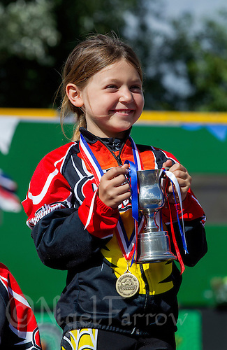 11 AUG 2013 - BIRMINGHAM, GBR - A proud competitor poses with her trophy after winning her race at the Federation of Inline Speed Skating 2013 British Outdoor Championships at Birmingham Wheels Park in Birmingham, West Midlands, Great Britain (PHOTO COPYRIGHT © 2013 NIGEL FARROW, ALL RIGHTS RESERVED)