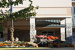 Front entrance to the hotel Chateau on the Lake in Branson Missouri showing fall decorations