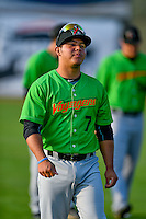 Carlos Perez (7) of the Great Falls Voyagers walks onto the field before the game against the Ogden Raptors in Pioneer League action at Lindquist Field on August 18, 2016 in Ogden, Utah. Ogden defeated Great Falls 10-6. (Stephen Smith/Four Seam Images)