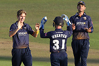 Adam Zampa of Essex celebrates with his team mates after taking the wicket of Heino Kuhn during Kent Spitfires vs Essex Eagles, Vitality Blast T20 Cricket at the St Lawrence Ground on 2nd August 2018