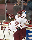 Julius Mattila (BC - 26), Graham McPhee (BC - 27) - The visiting University of Vermont Catamounts tied the Boston College Eagles 2-2 on Saturday, February 18, 2017, Boston College's senior night at Kelley Rink in Conte Forum in Chestnut Hill, Massachusetts.Vermont and BC tied 2-2 on Saturday, February 18, 2017, Boston College's senior night at Kelley Rink in Conte Forum in Chestnut Hill, Massachusetts.