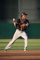 Luis Jean (3) of the Modesto Nuts makes a throw during a game against the Lancaster JetHawks at The Hanger on June 7, 2016 in Lancaster, California. Lancaster defeated Modesto, 3-2. (Larry Goren/Four Seam Images)