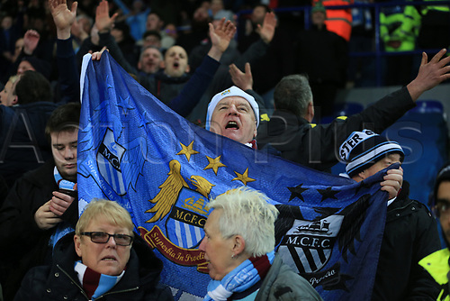 19th December 2017, King Power Stadium, Leicester, England; Carabao Cup quarter-final, Leicester City versus Manchester City; Manchester City fans sing Pep Guardiola manager of Manchester City name as they win on penalty's