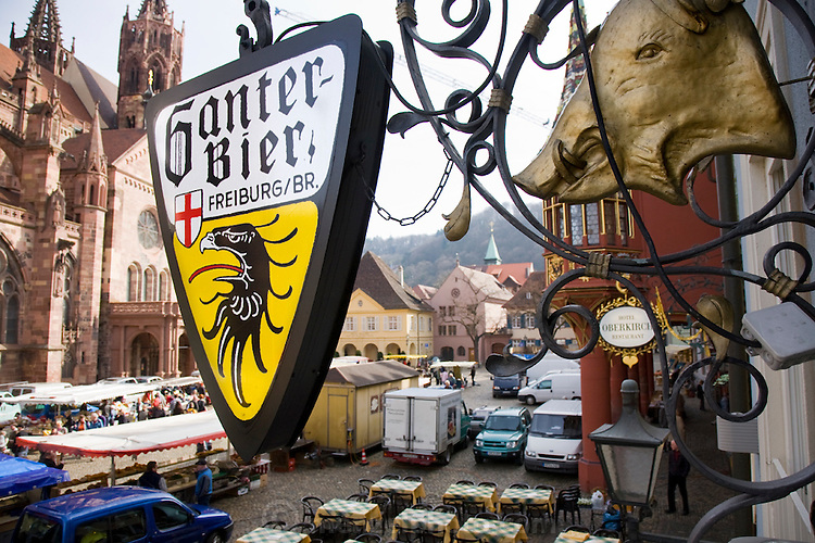 A Ganter beer sign marks Ganter Brewery's beer hall in the Muensterplatz, in the center of the old town in Freiburg im Breisgau, Germany.