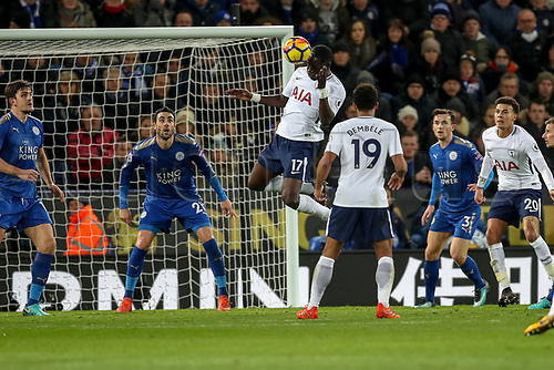 28th November 2017, King Power Stadium, Leicester, England; EPL Premier League Football, Leicester City versus Tottenham Hotspur; Moussa Sissoko of Tottenham Hotspur has a header on target